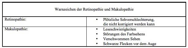 Warnzeichen einer Retinopathie und Makulopathie